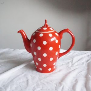 red polka dot porcelain tea pot